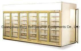 six glass doors upright walk in freezer with ce