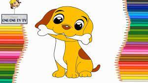 Vẽ Và Tô Màu Con Chó Con Đơn Giản Nhất - Tranh Tô Màu Cho Bé - How To Draw  A Dog - YouTube