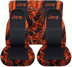jeep wrangler orange real tree camo and black seat covers with jeep logo