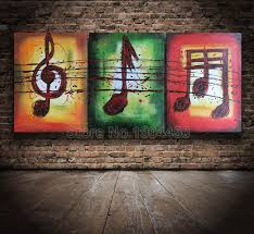 Hi Q Framed Hand Painted Oil Painting on canvas set huge abstract Music  notes art picture 3 pcs wall art sitting room home decor-in Painting &  Calligraphy ...