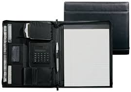 black leather padfolio with built in calculator