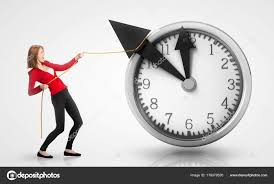 woman pulling clock hands backwards stock photo