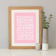 personalised 90th birthday word art gift
