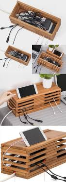 Bamboo Wooden Charge Cable Organizer iPad Cell Phone Charging Station Dock Holder  Cable Cord Organizer CableBox