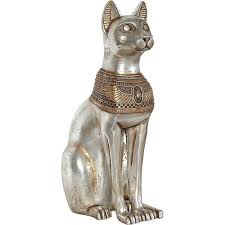 Small Picture Egyptian Bast Cat Goddess 29 inch high statue silver gold collar