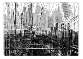 black and white abstract canvas wall art bridge from pencil glowing in the dark 60 x 90 cm