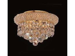elegant lighting primo royal cut gold crystal three light 10 wide flush