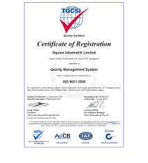 about square group square informatix limited has been awarded iso 9001 2008 certificate