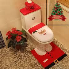 3pcs happy santa toilet seat cover rug bathroom set home decorations