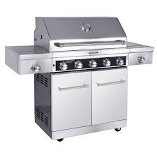 5 burner propane gas grill in stainless steel with sear and side