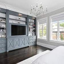 metal gray bedroom built ins with