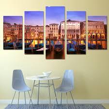 canvas painting children s room decoration print 5 panel beautiful building landscape canvas modular pictures frame ygyt