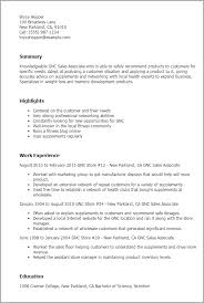 Resume Templates: Gnc Sales Associate