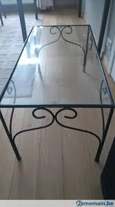 Table fer forgé et verre - A échanger | 2ememain.be