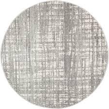 parishan silver  grey power loomed modern round rug  temple