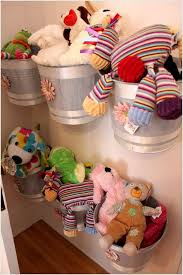 9. Wall Mounted Buckets Can be an Adorable Soft Toy Storage