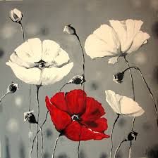canvas print white poppies flower paintings by artgallery
