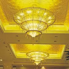mushroom cloud shape acrylic shade golden crystal pendant lamp for hotel hall