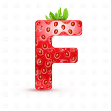 Strawberry Style Font Letter F Vector Illustration Of Signs