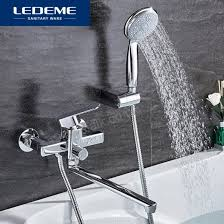 ledeme shower faucet set bathroom brass bathtub shower faucet bath shower tap chrome plated shower head