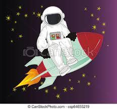 Gwiazdy, rakieta, kosmonauta, pozować. | CanStock