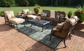 amalia 8 piece luxury cast aluminum patio furniture deep seating set w stationary chairs