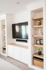 shiplap niches with blond wood floating
