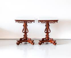 tab 391 1l pair of anglo indian mahogany side tables with marble top