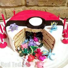 Diy Pokemon Cake Surprise Pinata Pokeball Cake Red Ted Art