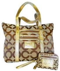 Coach Lurex Signature Poppy Tote in Gold. Coach Poppy Lurex Signature Large  Wallet ...