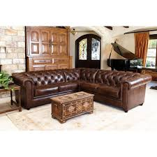 Top Grain Leather Living Room Set Abbyson Tuscan Tufted Top Grain Leather 3 Piece Sectional Sofa By