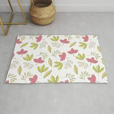 vintage chic pink green leaves fl pattern rug