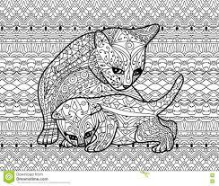 Libro Da Colorare Di Zendoodle Per Gli Adulti Gatto Della Madre Con