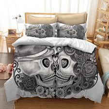 skull bedding set for king size bed europe style 3d sugar skull duvet cover with pillowcase au queen bed bedline navy blue duvet cover queen comforter duvet