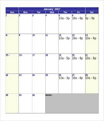 Printable Calendar Template - 10+ Free Word, Pdf Documents Download ...
