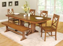 Rustic Dining Table Set Black Varnish Wood Bench Leather Soft Wood - Rustic chairs for dining room