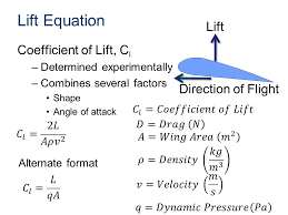 lift equation lift coefficient of lift cl direction of flight