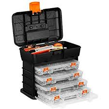 plastic tool box with drawers. vonhaus very small utility tool storage box - portable arts crafts organizer case with 4 drawers plastic 7
