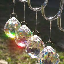 4 pcs crystal ball rainbow suncatcher light catcher feng shui