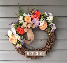 Spring Wreath for Front Door, Summer Wreath for Front Door, Welcome ...
