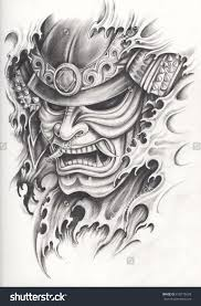 Samurai Warrior Design Samurai Warrior Tattoo Design Hand Pencil Drawing On Paper