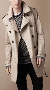 lyst burberry brit short cotton trench coat in natural