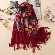 Designer Shawls And Wraps 2019 Designer Quality Embroidery Cashmere Scarves Vintage Winter Women Scarf Long Size Shawls And Wraps Lady Soft Warmer Foulard