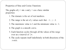 properties of sine and cosine functions