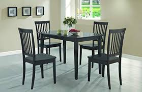 coaster 5 piece dining set table top with 4 chairs cappuccino wood