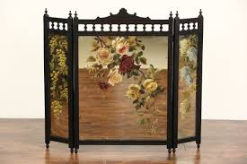 fireplace screen cherry trifold mirror 1880 s victorian eastlake hand painted