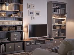 Tv Storage Units Living Room Furniture A Living Room With A White Tv Bench With Drawers And Two Grey