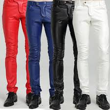 quality winter fleece line y blue white red tight leather pants