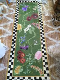 floor cloth mat wildflowers ships in mackenzie childs courtly rugs home design check paper rug runner