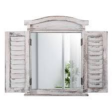Mendler Wandspiegel Spiegelfenster Mit Fensterläden 53x42x5cm Weiß